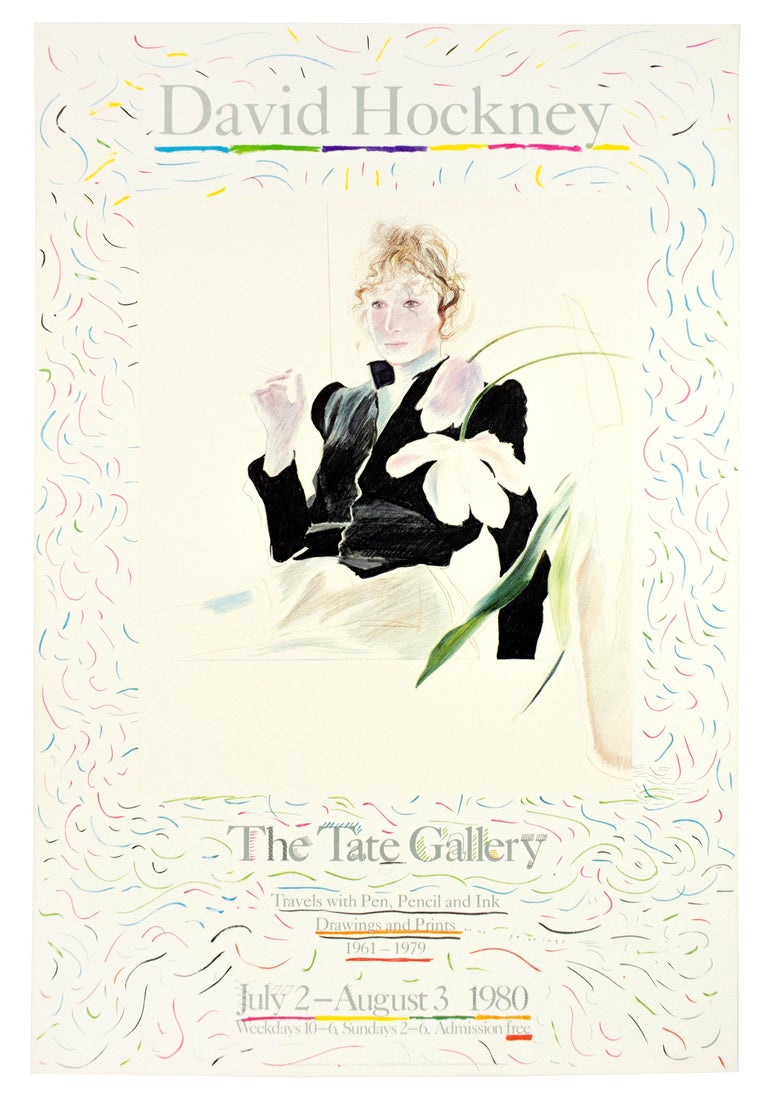 Vintage Hockney Tate Poster, Celia in Black Dress with white flowers and rainbow - Print by (after) David Hockney