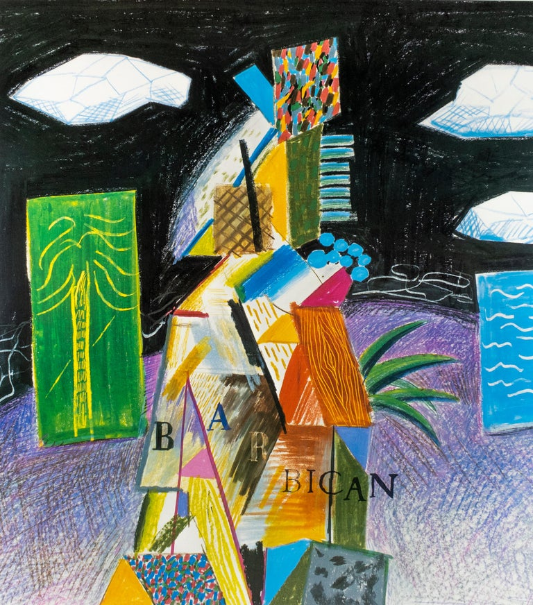 Vintage poster: Barbican Centre for the Arts London 1982 colorful palm trees - Cubist Print by David Hockney