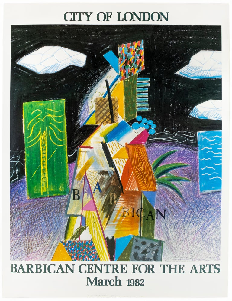 David Hockney Landscape Print - Vintage poster: Barbican Centre for the Arts London 1982 colorful palm trees