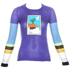 David Hockney x Ritva embroidered multicoloured acrylic sweater, c. 1971