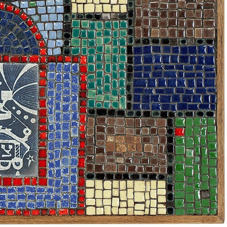 Rare Vintage Judaica Tile Mosaic with Sgraffito Hebrew Calligraphy For Sale 2