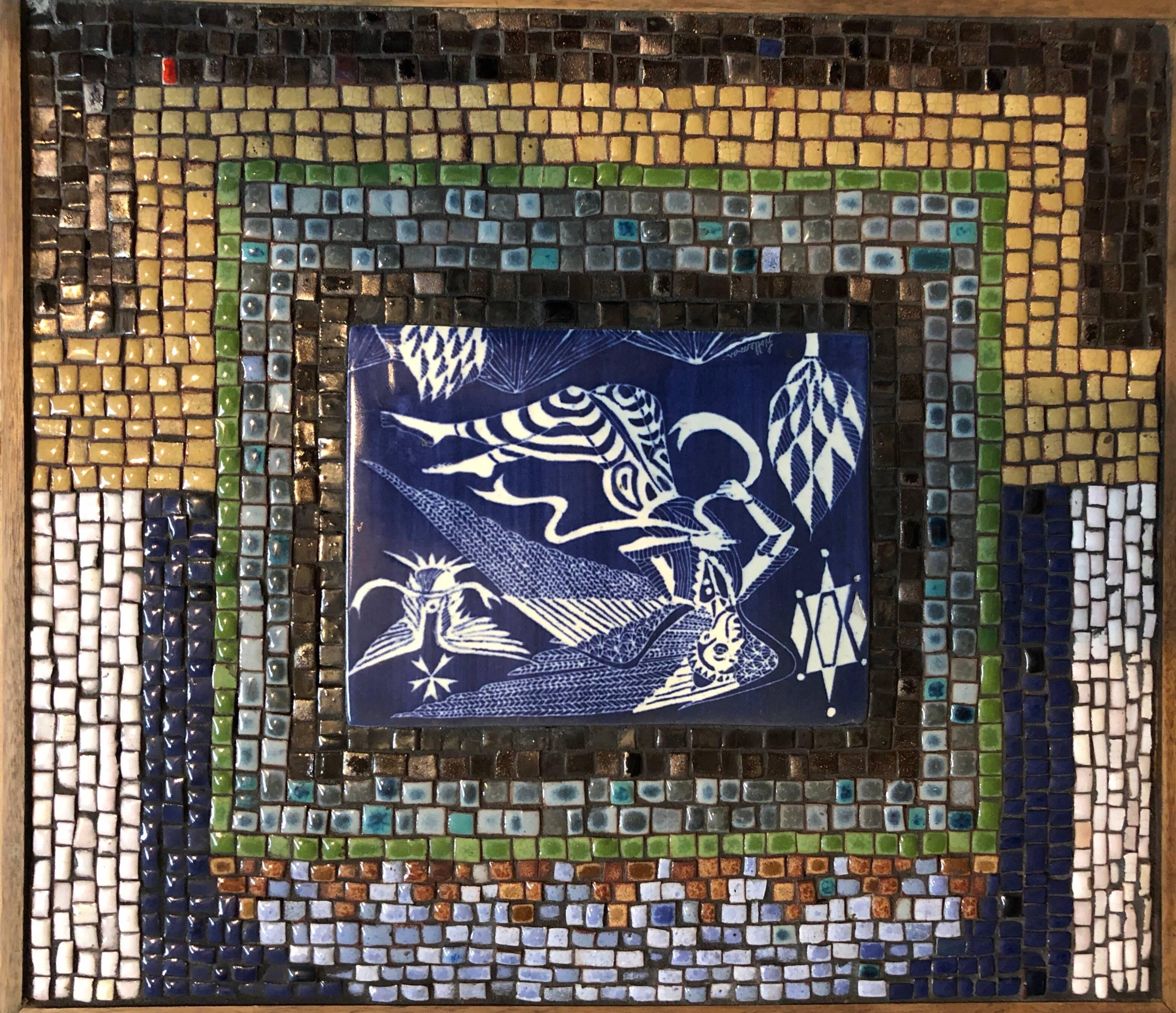 Rare Vintage Judaica Tile Mosaic with Sgraffito Hebrew Calligraphy