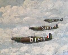 Three Spitfires, original oil painting