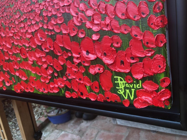 A Sea Of Poppies.   Large Contemporary Landscape Painting For Sale 2