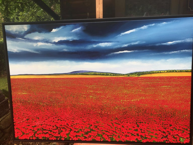 A Sea Of Poppies.   Large Contemporary Landscape Painting For Sale 3
