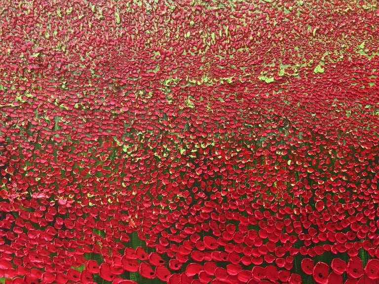 A Sea Of Poppies.   Large Contemporary Landscape Painting For Sale 4