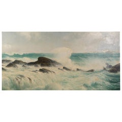 "David James Oil on Canvas ""The tide coming in on the Cornish coast"""