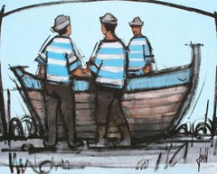 Barque et matelots by David Jamin French artist, marine, seamen, boat on beach
