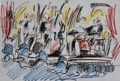 En scene by David Jamin, Pastel on paper, French, On stage, band, orchestra