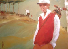Golfeur au debardeur rouge by David Jamin, Golf, French artist, figurative