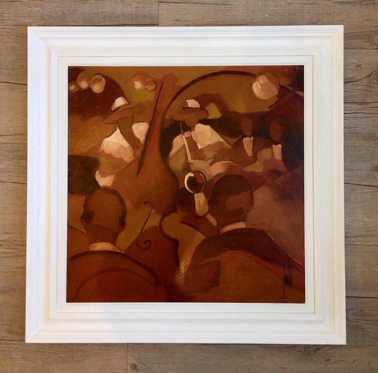Jazz II by David Jamin, Acrylic on canvas, French, Night club, band, orchestra  For Sale 1