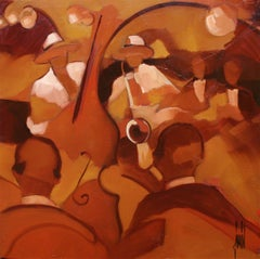 Jazz II by David Jamin, Acrylic on canvas, French, Night club, band, orchestra