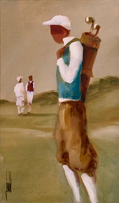 Le Golf by David Jamin, Golf, French artist, figurative, acrylic on canvas