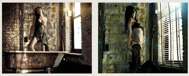 Shanghai #5 and #1 Diptych, Small Size Nude Portrait Color Photograph  - Gray Nude Photograph by David Jay