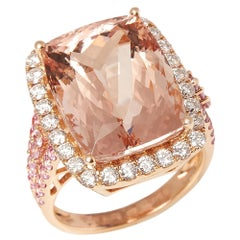 Certified 14.99ct Cushion Cut Morganite, Pink Sapphire and Diamond 18ct ring