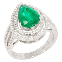 Certified 3.68ct Untreated Zambian Pear Cut Emerald and Diamond 18k gold Ring