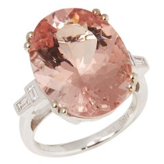 Certified 18.49ct Oval cut Brazilian Morganite and Diamond 18ct gold  Ring