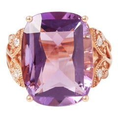 Certified 12.74ct Russian Amethyst and Diamond 18ct gold Ring
