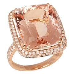 Certified 16.71ct Cushion Cut Brazilian Morganite and Diamond 18ct Gold Ring