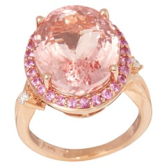 Certified 12.51ct Untreated Brazilian Oval Cut Morganite, Pink Sapphire and Diam