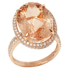 Certified 14.31ct Brazilian Morganite and Diamond 18ct gold Ring