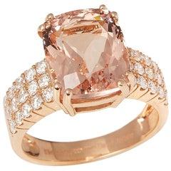 David Jerome 18 Karat Rose Gold Morganite and Diamond Ring