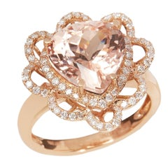 Certified 4.88ct Trillion cut Morganite and Diamond 18ct gold Ring