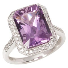 Certified 6.32ct Amethyst and Diamond 18ct Gold Ring