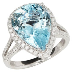 Certified 6.6ct Brazilian Pear Cut Aquamarine and Diamond 18k gold Ring