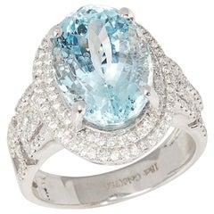 Certified 6.82ct Brazilian Oval Cut Aquamarine and Diamond 18ct gold Ring