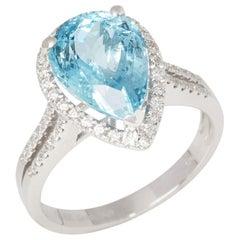 Certified 3.95ct Brazilian Aquamarine and Diamond 18ct gold Ring