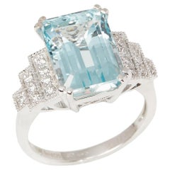 David Jerome 18 Karat White Gold Aquamarine and Diamond Ring