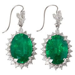 David Jerome 18 Karat White Gold Emerald and Diamond Drop Earrings