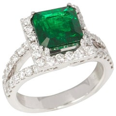 Certified 4.6ct Untreated Columbian Square Cut Emerald and Diamond 18ct gold Rin