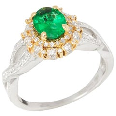 Certified 1.03ct Untreated Zambian Oval Cut Emerald and Diamond 18ct gold Ring