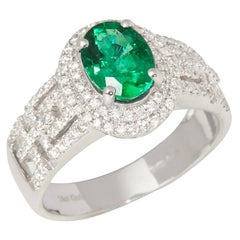 Certified 1.23ct Untreated Zambian Oval Cut Emerald and Diamond 18ct gold Ring