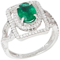Certified 1.58ct Untreated Zambian Oval Cut Emerald and Diamond 18ct gold Ring