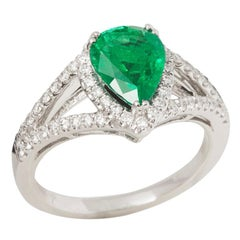 David Jerome 18 Karat White Gold Emerald and Diamond Ring