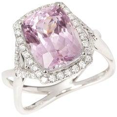 Certified 6.69ct Cushion Cut Kunzite and Diamond 18ct gold Ring