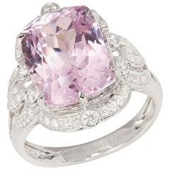 Certified 9.94ct Cushion Cut Kunzite and Diamond 18ct gold Ring
