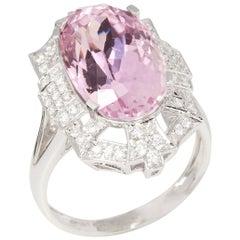 David Jerome 18 Karat White Gold Kunzite and Diamond Ring