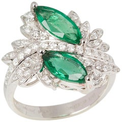 David Jerome 18 Karat White Gold Marquise Emerald and Diamond Ring