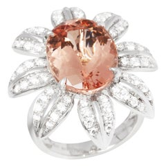 Certified 8.86ct Oval Cut Morganite and Diamond 18ct Gold Ring