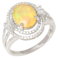 David Jerome 18 Karat White Gold Opal and Diamond Ring
