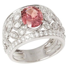 Certified 3.19ct Unheated Padparadscha Sapphire and Diamond 18ct Gold Ring