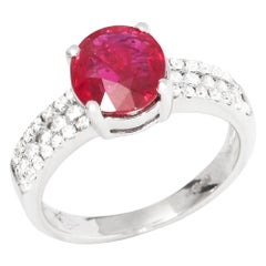 Certified 2.03ct Untreated Unheated Round Cut Ruby and Diamond 18ct gold Ring