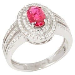 Certified 1.09ct Untreated Burmese Oval Cut Ruby and Diamond 18ct gold Ring
