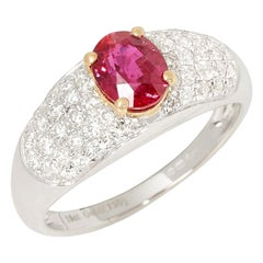 Certified 1.21ct Unheated Untreated Mozambique Oval Cut Ruby and Diamond 18k gol