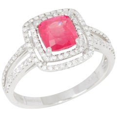 Certified 1.85ct Unheated Untreated Vietnamese Cushion Cut Ruby and Diamond 18k