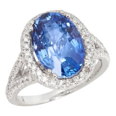 Certified 7.55ct Sri Lankan Oval Cut Sapphire and Diamond 18ct gold Ring
